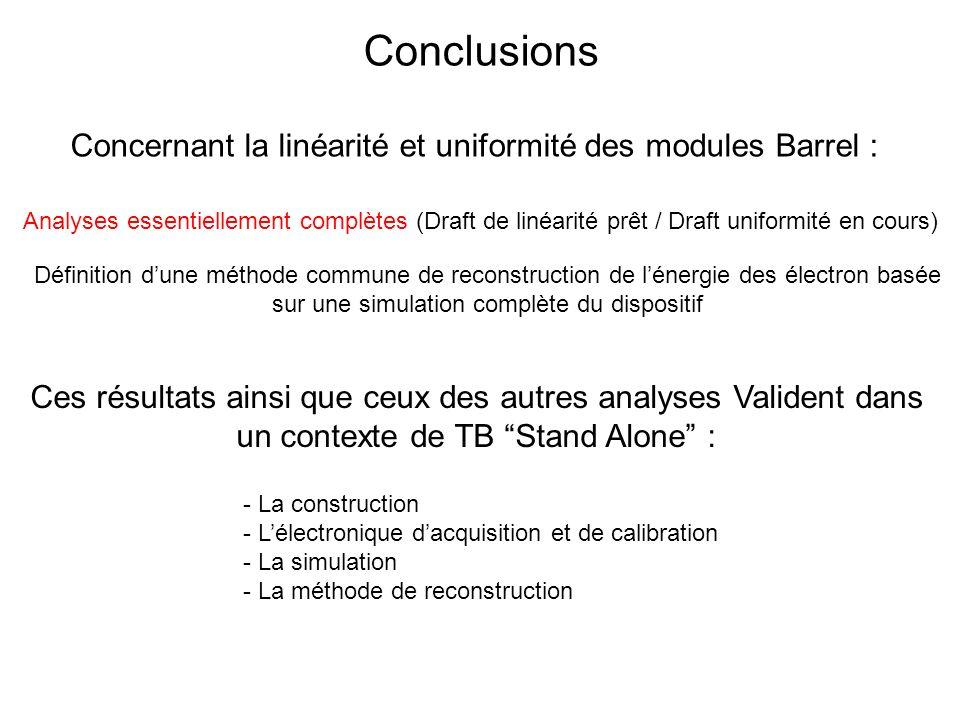 Conclusions Analyses essentiellement complètes (Draft de linéarité prêt / Draft uniformité en cours) - La construction - Lélectronique dacquisition et de calibration - La simulation - La méthode de reconstruction Définition dune méthode commune de reconstruction de lénergie des électron basée sur une simulation complète du dispositif Concernant la linéarité et uniformité des modules Barrel : Ces résultats ainsi que ceux des autres analyses Valident dans un contexte de TB Stand Alone :