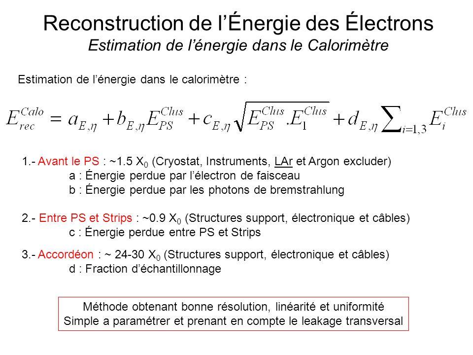 Reconstruction de lÉnergie des Électrons Estimation de lénergie dans le Calorimètre Estimation de lénergie dans le calorimètre : 1.- Avant le PS : ~1.5 X 0 (Cryostat, Instruments, LAr et Argon excluder) a : Énergie perdue par lélectron de faisceau b : Énergie perdue par les photons de bremstrahlung 2.- Entre PS et Strips : ~0.9 X 0 (Structures support, électronique et câbles) c : Énergie perdue entre PS et Strips 3.- Accordéon : ~ 24-30 X 0 (Structures support, électronique et câbles) d : Fraction déchantillonnage Méthode obtenant bonne résolution, linéarité et uniformité Simple a paramétrer et prenant en compte le leakage transversal