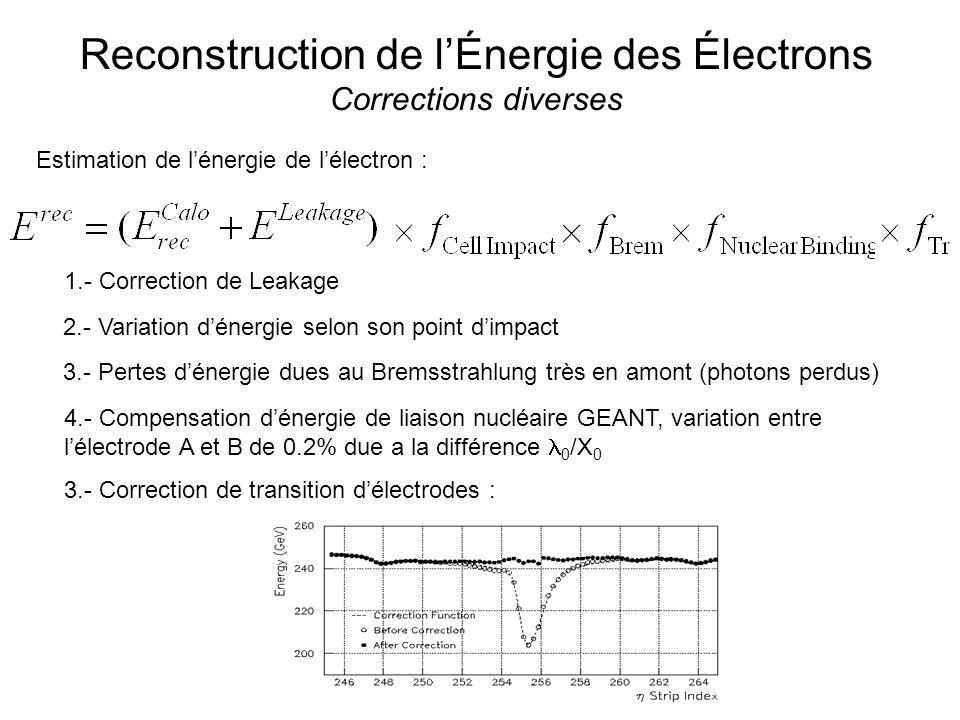 Reconstruction de lÉnergie des Électrons Corrections diverses Estimation de lénergie de lélectron : 1.- Correction de Leakage 2.- Variation dénergie selon son point dimpact 3.- Pertes dénergie dues au Bremsstrahlung très en amont (photons perdus) 4.- Compensation dénergie de liaison nucléaire GEANT, variation entre lélectrode A et B de 0.2% due a la différence 0 /X 0 3.- Correction de transition délectrodes :