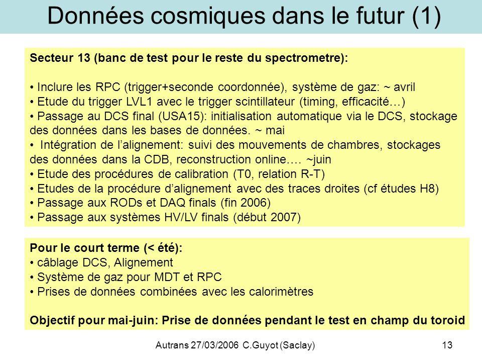 Autrans 27/03/2006 C.Guyot (Saclay)13 Données cosmiques dans le futur (1) Secteur 13 (banc de test pour le reste du spectrometre): Inclure les RPC (tr