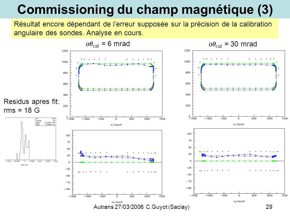 Autrans 27/03/2006 C.Guyot (Saclay)29 Commissioning du champ magnétique (3) cal = 6 mrad cal = 30 mrad Résultat encore dépendant de lerreur supposée s
