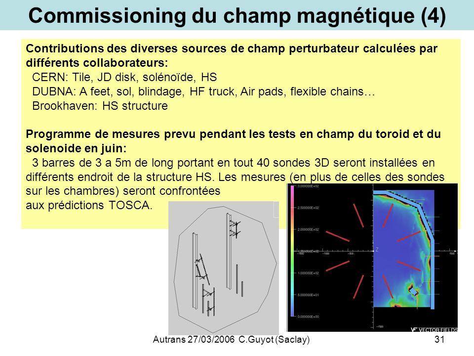 Autrans 27/03/2006 C.Guyot (Saclay)31 Commissioning du champ magnétique (4) Contributions des diverses sources de champ perturbateur calculées par dif