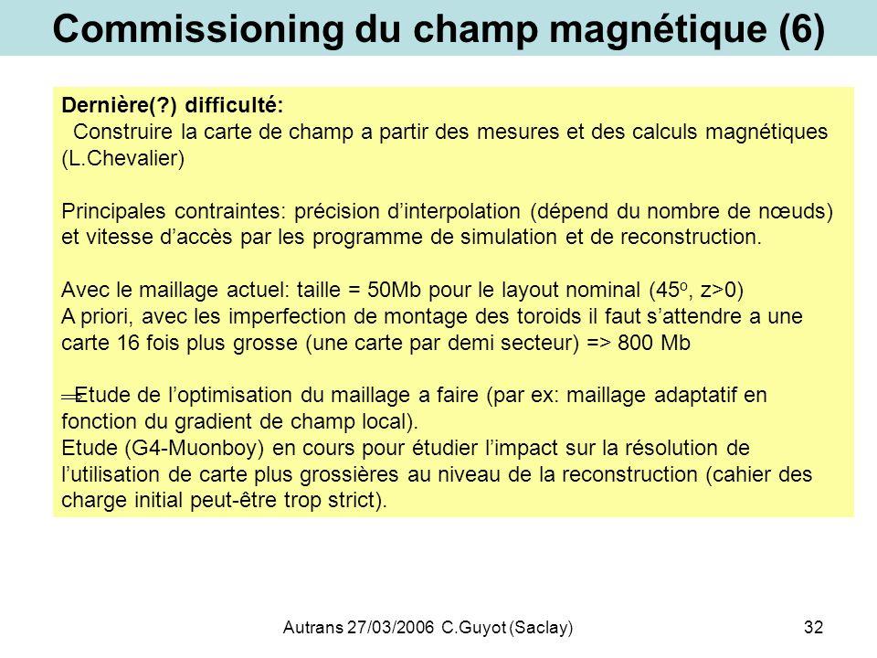 Autrans 27/03/2006 C.Guyot (Saclay)32 Commissioning du champ magnétique (6) Dernière(?) difficulté: Construire la carte de champ a partir des mesures