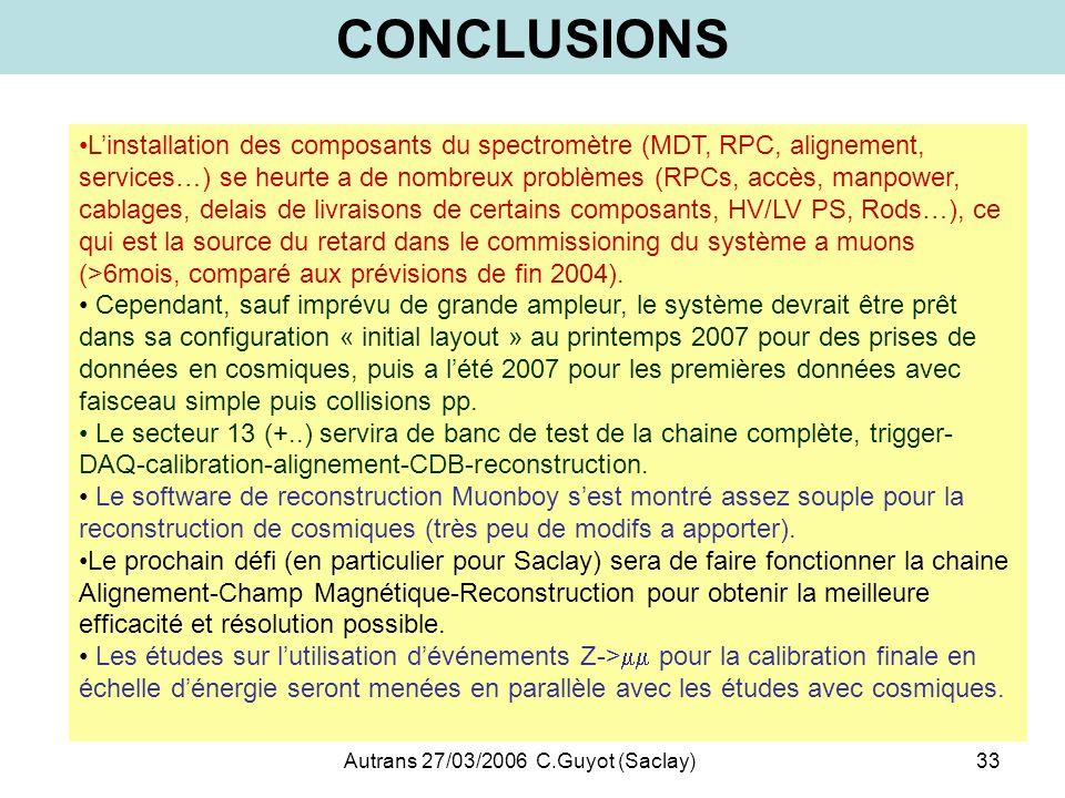 Autrans 27/03/2006 C.Guyot (Saclay)33 CONCLUSIONS Linstallation des composants du spectromètre (MDT, RPC, alignement, services…) se heurte a de nombre