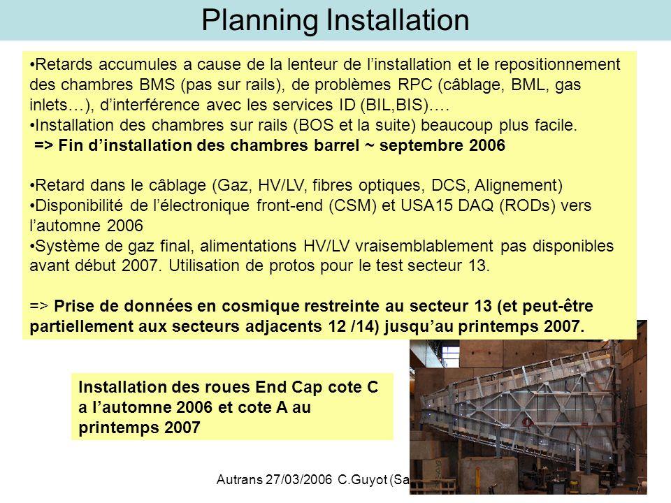 Autrans 27/03/2006 C.Guyot (Saclay)8 Planning Installation Retards accumules a cause de la lenteur de linstallation et le repositionnement des chambre