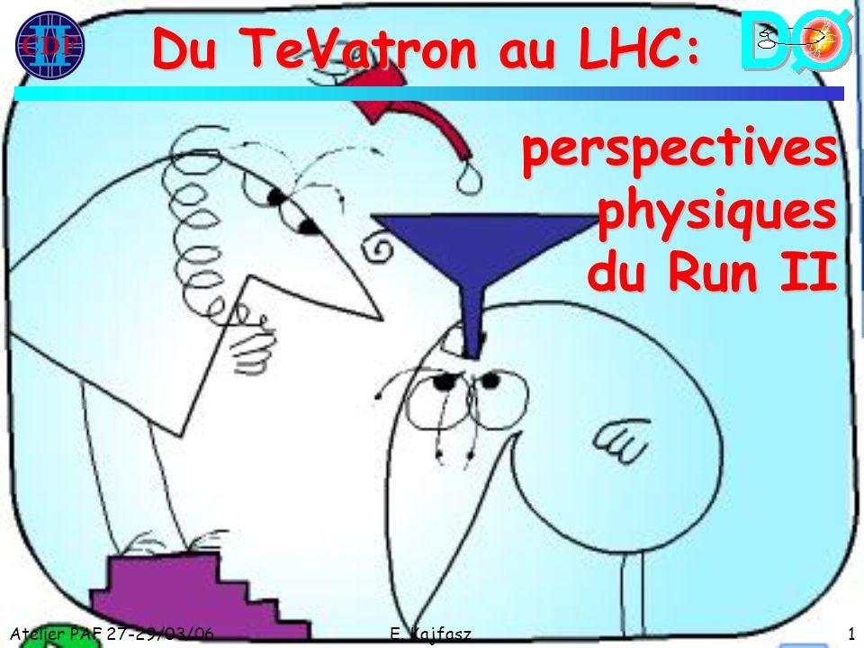 Atelier PAF 27-29/03/06E. Kajfasz1 Du TeVatron au LHC: perspectivesphysiques du Run II