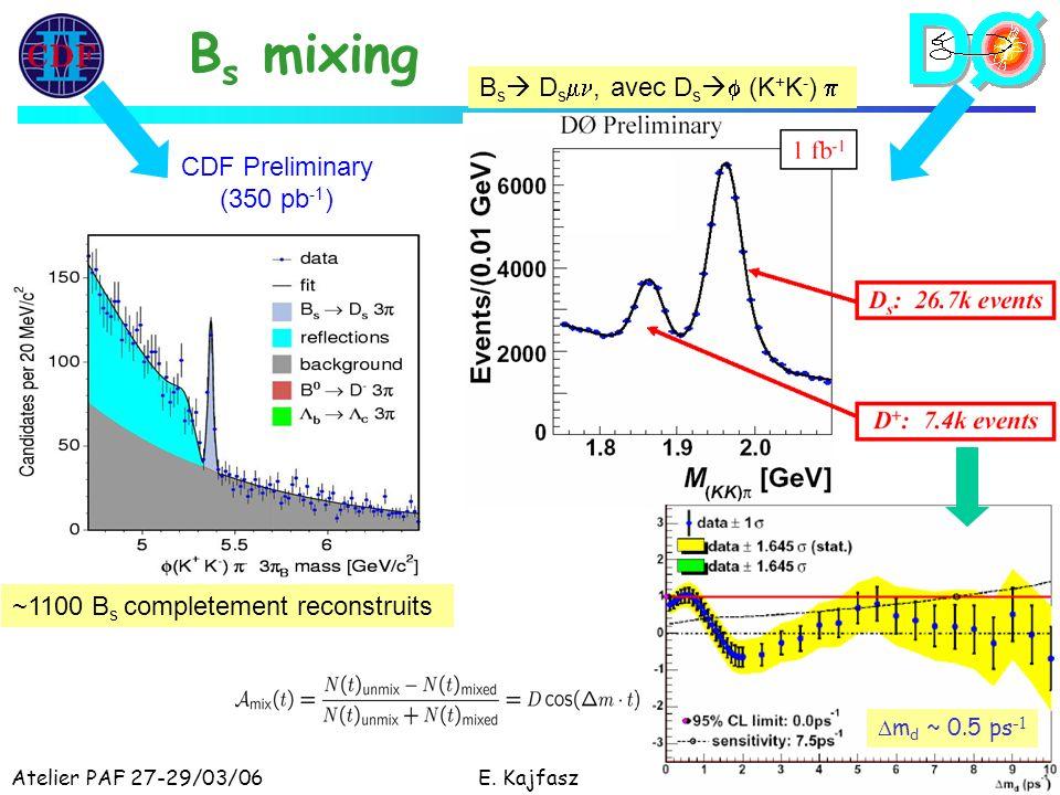 Atelier PAF 27-29/03/06E. Kajfasz17 B s mixing ~1100 B s completement reconstruits CDF Preliminary (350 pb -1 ) B s D s, avec D s (K + K - ) m d ~ 0.5