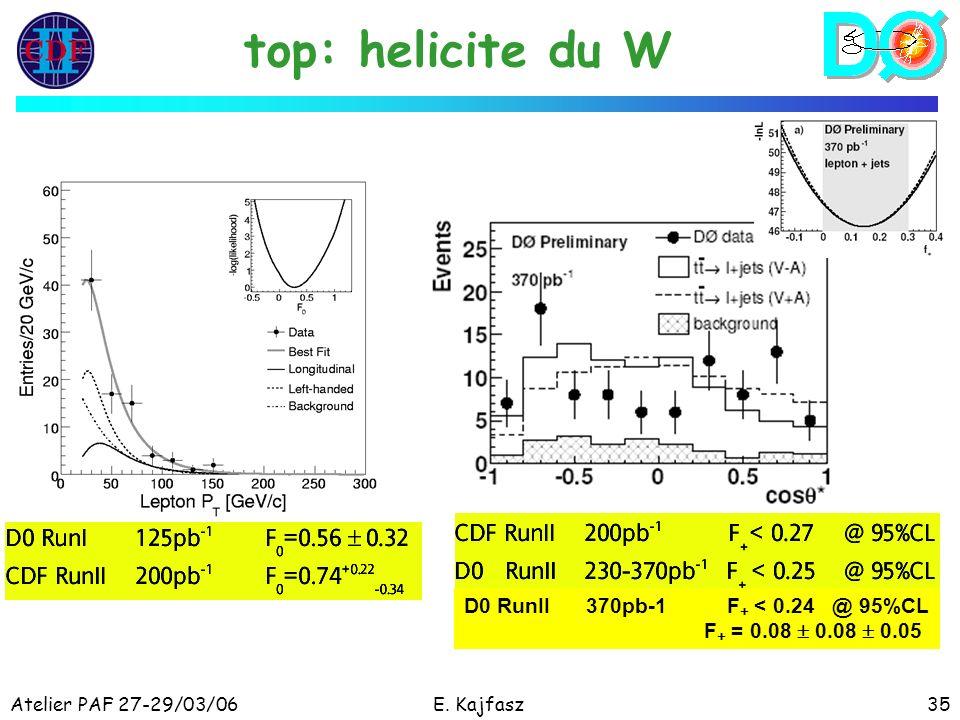 Atelier PAF 27-29/03/06E. Kajfasz35 top: helicite du W D0 RunII 370pb-1 F + < 0.24 @ 95%CL F + = 0.08 0.08 0.05
