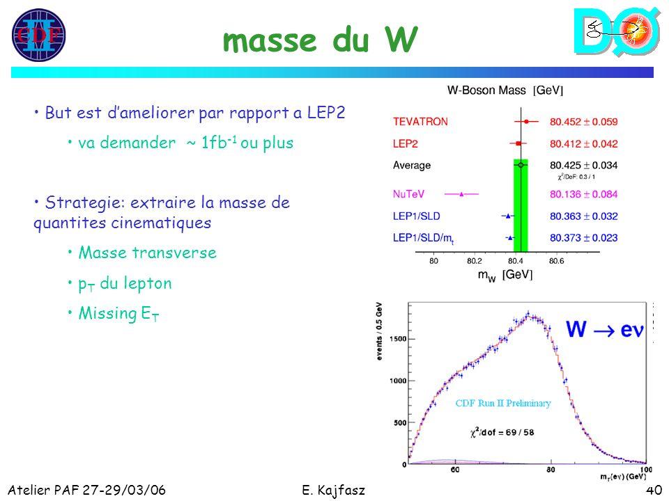 Atelier PAF 27-29/03/06E. Kajfasz40 masse du W But est dameliorer par rapport a LEP2 va demander ~ 1fb -1 ou plus Strategie: extraire la masse de quan