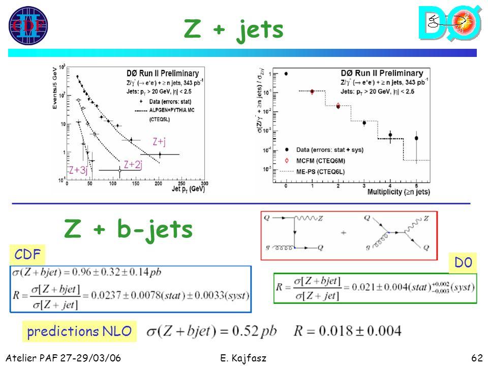 Atelier PAF 27-29/03/06E. Kajfasz62 Z + jets Z + b-jets CDF D0 predictions NLO