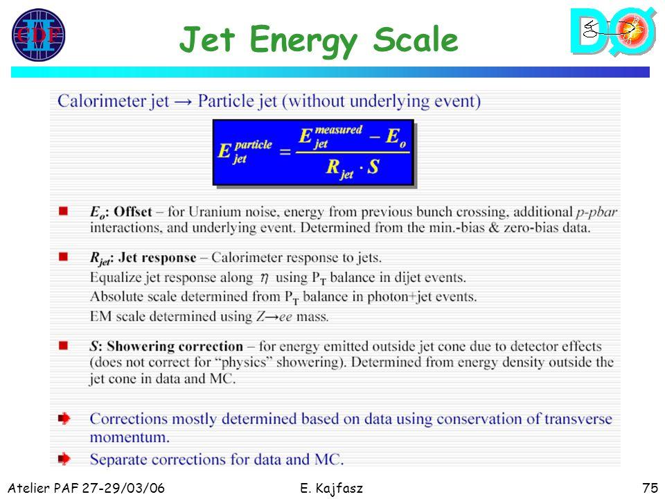 Atelier PAF 27-29/03/06E. Kajfasz75 Jet Energy Scale