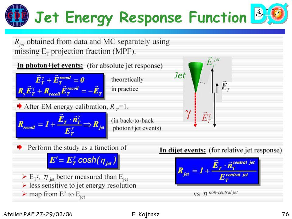 Atelier PAF 27-29/03/06E. Kajfasz76 Jet Energy Response Function