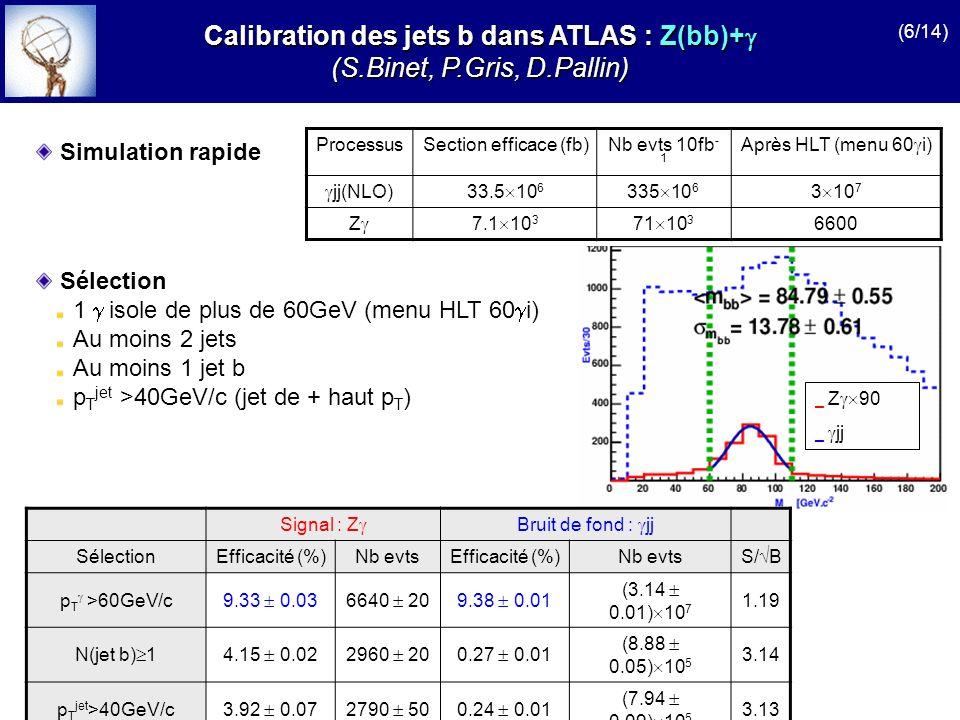 ProcessusSection efficace (fb)Nb evts 10fb - 1 Après HLT (menu 60 i) jj(NLO)33.5 10 6 335 10 6 3 10 7 Z 7.1 10 3 71 10 3 6600 Simulation rapide Calibr