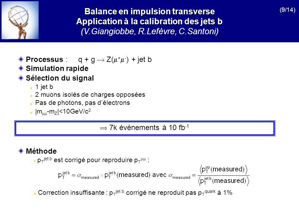 Processus :q + g Z( + - ) + jet b Simulation rapide Sélection du signal 1 jet b 2 muons isolés de charges opposées Pas de photons, pas délectrons |m -m Z |<10GeV/c 2 7k événements à 10 fb -1 Balance en impulsion transverse Application à la calibration des jets b (V.Giangiobbe, R.Lefèvre, C.Santoni) Méthode p T jet b est corrigé pour reproduire p T : Correction insuffisante : p T jet b corrigé ne reproduit pas p T quark à 1% (9/14)