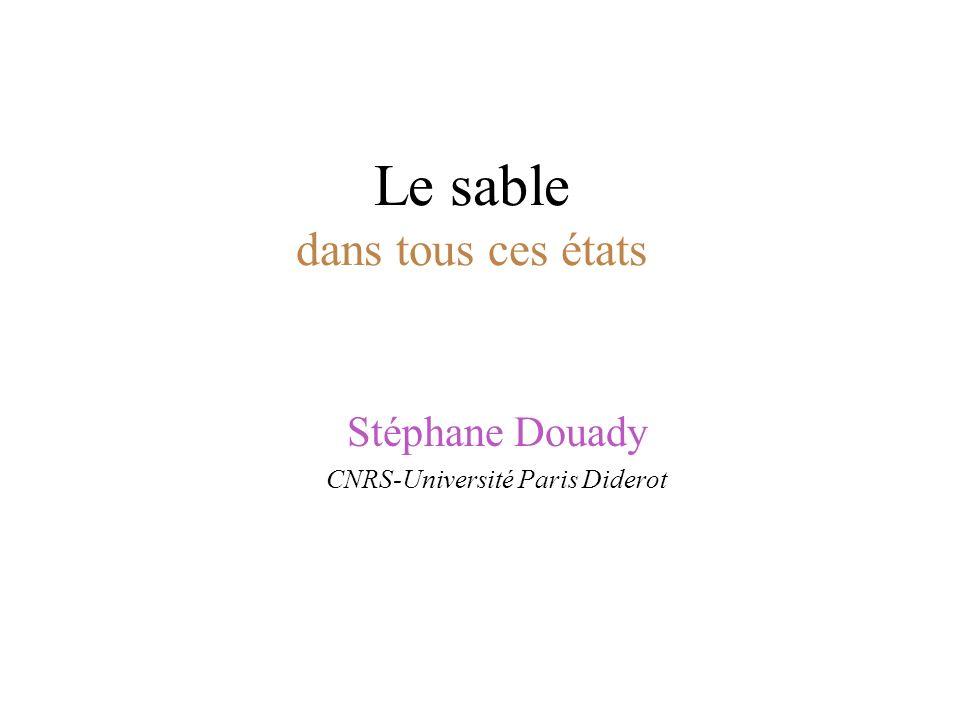 Le sable dans tous ces états Stéphane Douady CNRS-Université Paris Diderot