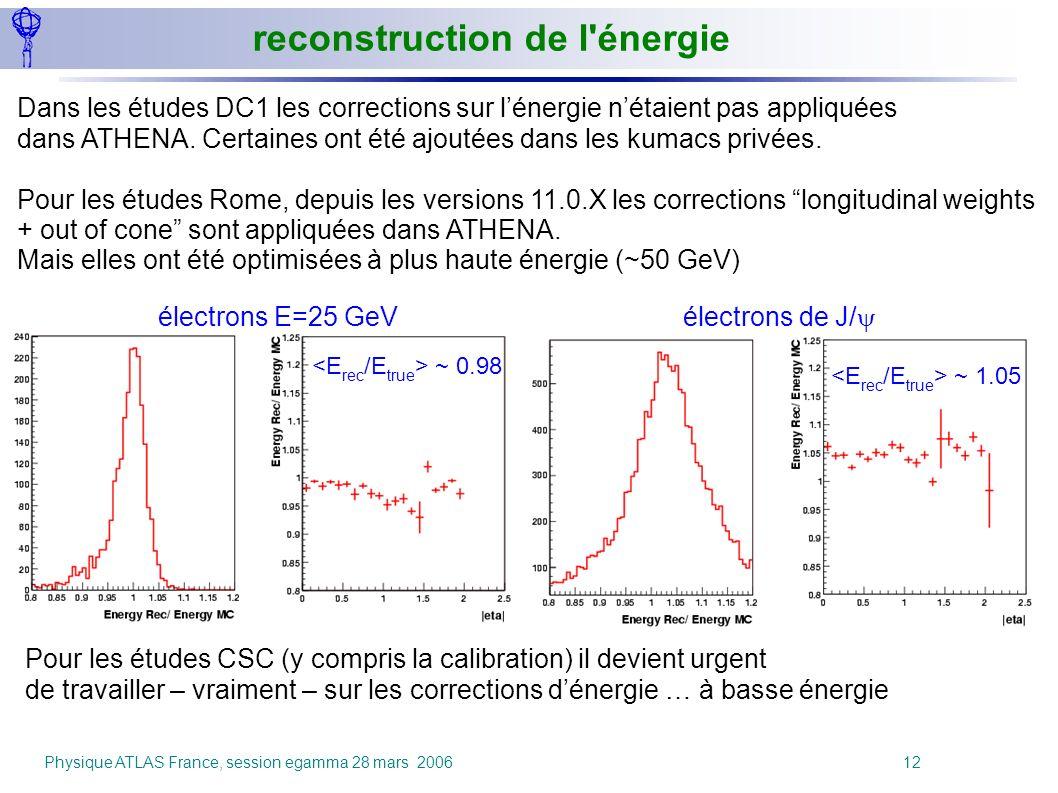 Physique ATLAS France, session egamma 28 mars 2006 12 reconstruction de l'énergie Pour les études CSC (y compris la calibration) il devient urgent de