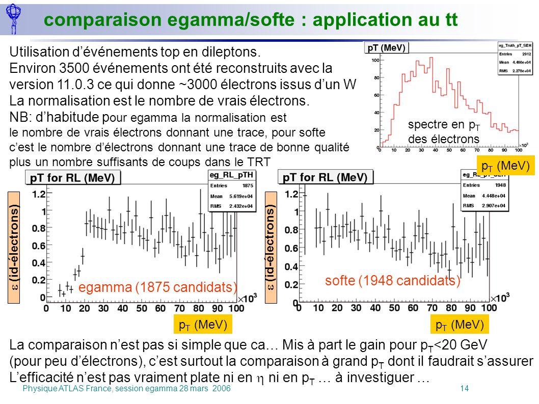 Physique ATLAS France, session egamma 28 mars 2006 14 Utilisation dévénements top en dileptons. Environ 3500 événements ont été reconstruits avec la v
