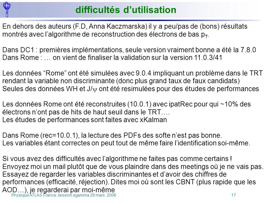 Physique ATLAS France, session egamma 28 mars 2006 17 difficultés dutilisation En dehors des auteurs (F.D, Anna Kaczmarska) il y a peu/pas de (bons) r