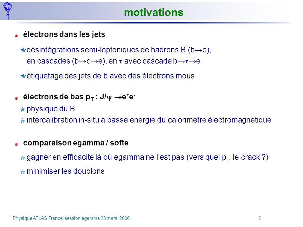 Physique ATLAS France, session egamma 28 mars 2006 2 électrons dans les jets désintégrations semi-leptoniques de hadrons B (be), en cascades (bce), en
