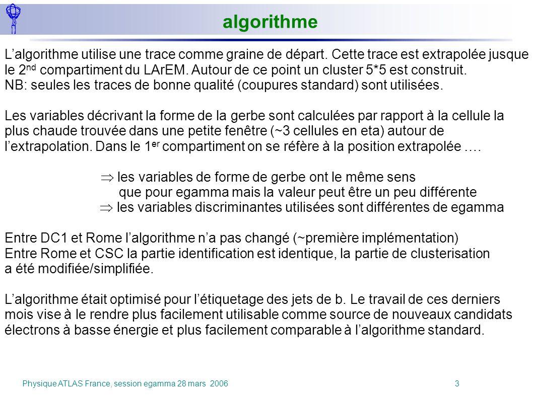 Physique ATLAS France, session egamma 28 mars 2006 3 Lalgorithme utilise une trace comme graine de départ. Cette trace est extrapolée jusque le 2 nd c