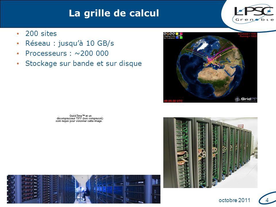 Fête de la scienceoctobre 20114 La grille de calcul 200 sites Réseau : jusquà 10 GB/s Processeurs : ~200 000 Stockage sur bande et sur disque