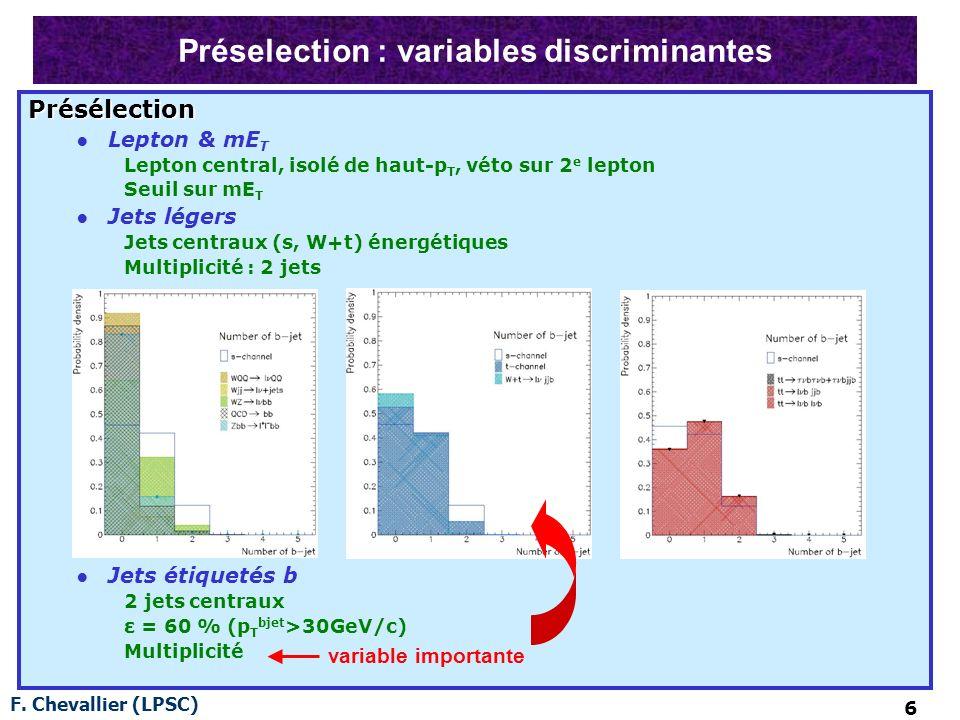 F. Chevallier (LPSC) 6 Préselection : variables discriminantes Présélection Lepton & mE T Lepton central, isolé de haut-p T, véto sur 2 e lepton Seuil