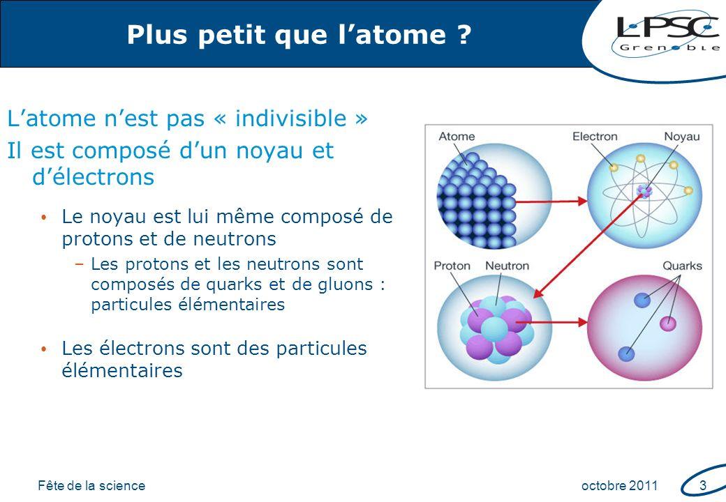 Fête de la scienceoctobre 20114 Les particules élémentaires ___ ___ ___ ___ Anti- Matière ordinaire 1ère famille : –proton uud –neutron udd –électron e - Rayons cosmiques Muons, neutrinos, … Collisionneurs Toutes ces particules ont été observées