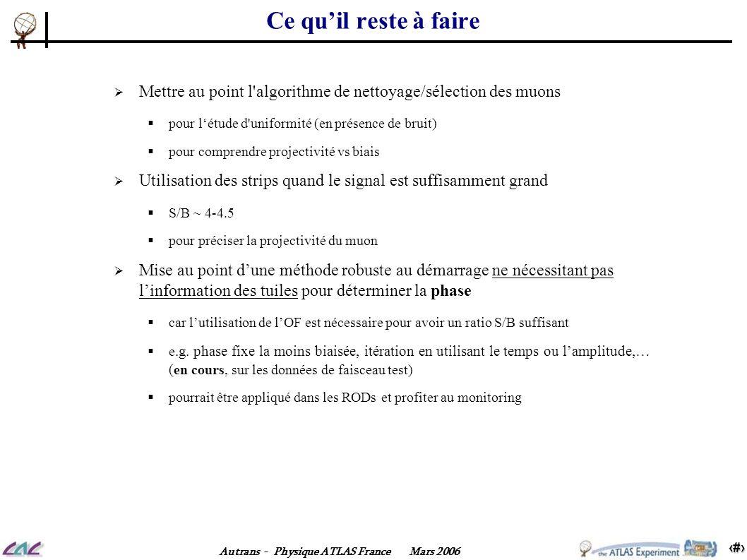 15 Autrans - Physique ATLAS France Mars 2006 Ce quil reste à faire Mettre au point l'algorithme de nettoyage/sélection des muons pour létude d'uniform