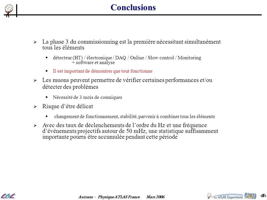 16 Autrans - Physique ATLAS France Mars 2006 Conclusions La phase 3 du commissionning est la première nécessitant simultanément tous les éléments déte