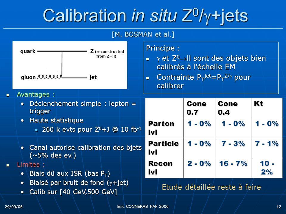 29/03/06 Eric COGNERAS PAF 2006 12 Principe : et Z 0ll sont des objets bien calibrés à léchelle EM et Z 0ll sont des objets bien calibrés à léchelle EM Contrainte P T jet =P T Z/ pour calibrer Contrainte P T jet =P T Z/ pour calibrer Avantages : Avantages : Déclenchement simple : lepton = triggerDéclenchement simple : lepton = trigger Haute statistiqueHaute statistique 260 k evts pour Z 0 +J @ 10 fb -1 260 k evts pour Z 0 +J @ 10 fb -1 Canal autorise calibration des bjets (~5% des ev.)Canal autorise calibration des bjets (~5% des ev.) Limites : Limites : Biais dû aux ISR (bas P T )Biais dû aux ISR (bas P T ) Biaisé par bruit de fond (+jet)Biaisé par bruit de fond (+jet) Calib sur [40 GeV,500 GeV]Calib sur [40 GeV,500 GeV] Calibration in situ Z 0 / +jets Calibration in situ Z 0 / +jets Etude détaillée reste à faire Cone 0.7 Cone 0.4 Kt Parton lvl 1 - 0% Particle lvl 1 - 0% 7 - 3% 7 - 1% Recon lvl 2 - 0% 15 - 7% 10 - 2% [M.