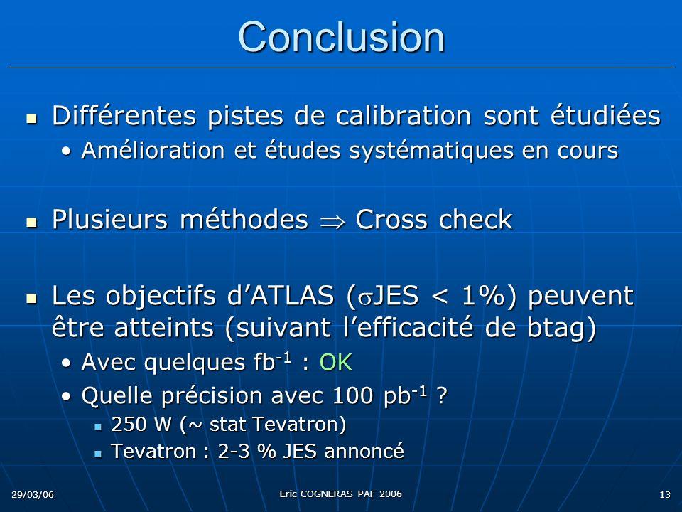 29/03/06 Eric COGNERAS PAF 2006 13 Conclusion Différentes pistes de calibration sont étudiées Différentes pistes de calibration sont étudiées Améliora