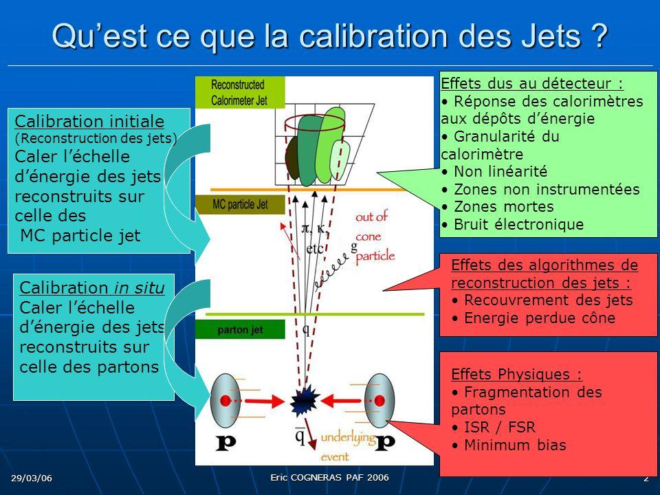 29/03/06 Eric COGNERAS PAF 2006 2 Quest ce que la calibration des Jets ? Calibration in situ Caler léchelle dénergie des jets reconstruits sur celle d