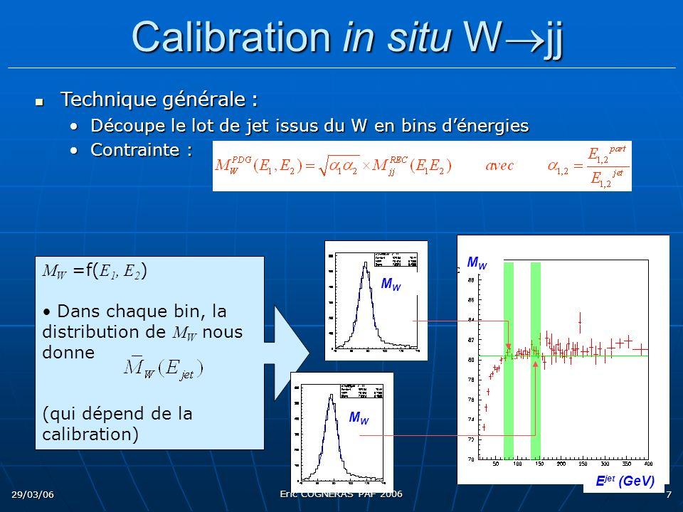 29/03/06 Eric COGNERAS PAF 2006 7 M W =f( E 1, E 2 ) Dans chaque bin, la distribution de M W nous donne (qui dépend de la calibration) Technique générale : Technique générale : Découpe le lot de jet issus du W en bins dénergiesDécoupe le lot de jet issus du W en bins dénergies Contrainte :Contrainte : Calibration in situ W jj Calibration in situ W jj MWMW MWMW MWMW E jet (GeV)