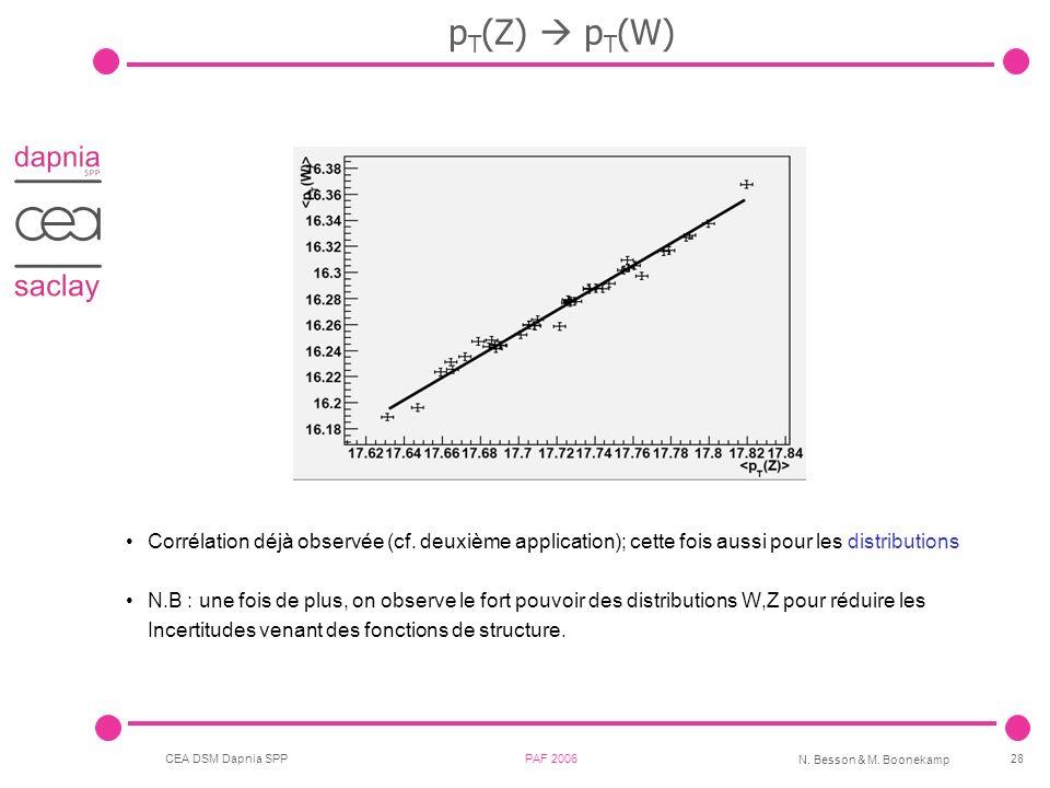 CEA DSM Dapnia SPP PAF 2006 N. Besson & M. Boonekamp 28 p T (Z) p T (W) Corrélation déjà observée (cf. deuxième application); cette fois aussi pour le