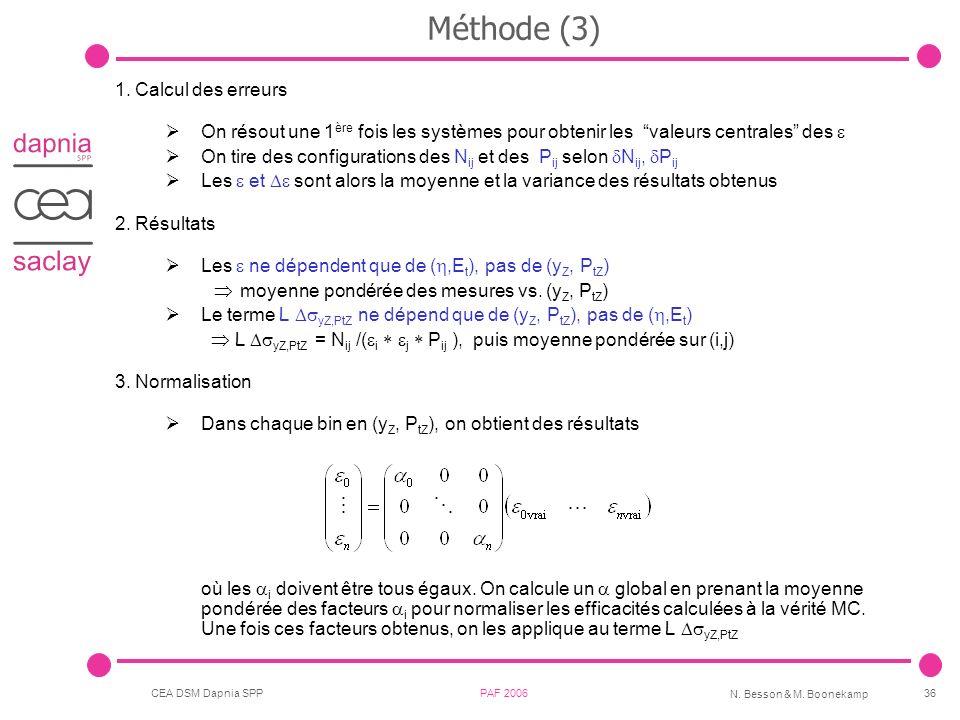 CEA DSM Dapnia SPP PAF 2006 N. Besson & M. Boonekamp 36 Méthode (3) 1.Calcul des erreurs On résout une 1 ère fois les systèmes pour obtenir les valeur