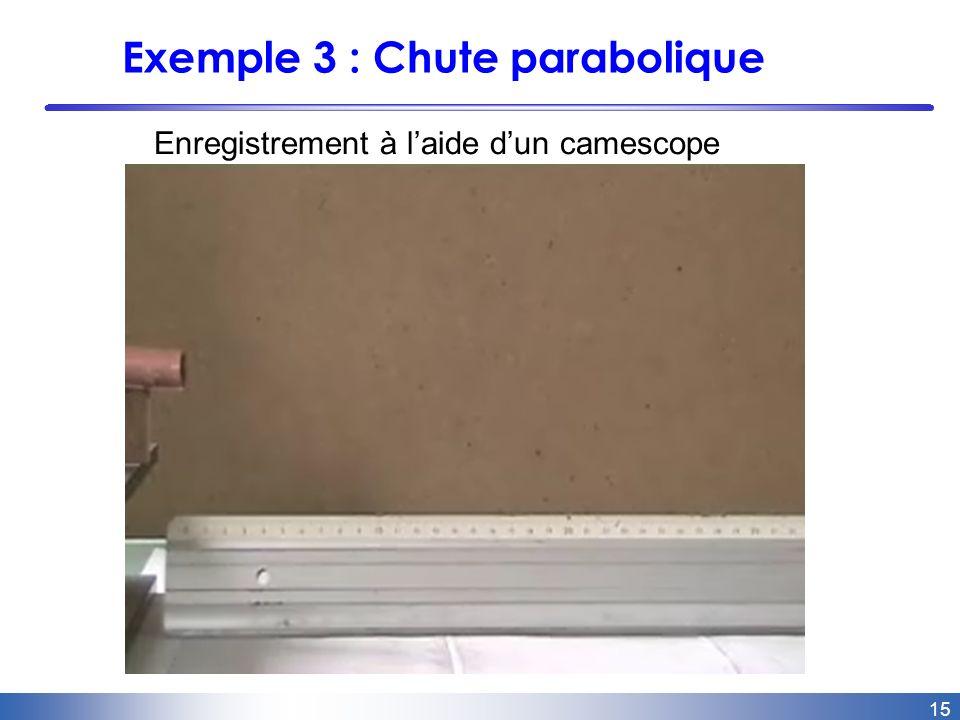 15 Exemple 3 : Chute parabolique Enregistrement à laide dun camescope