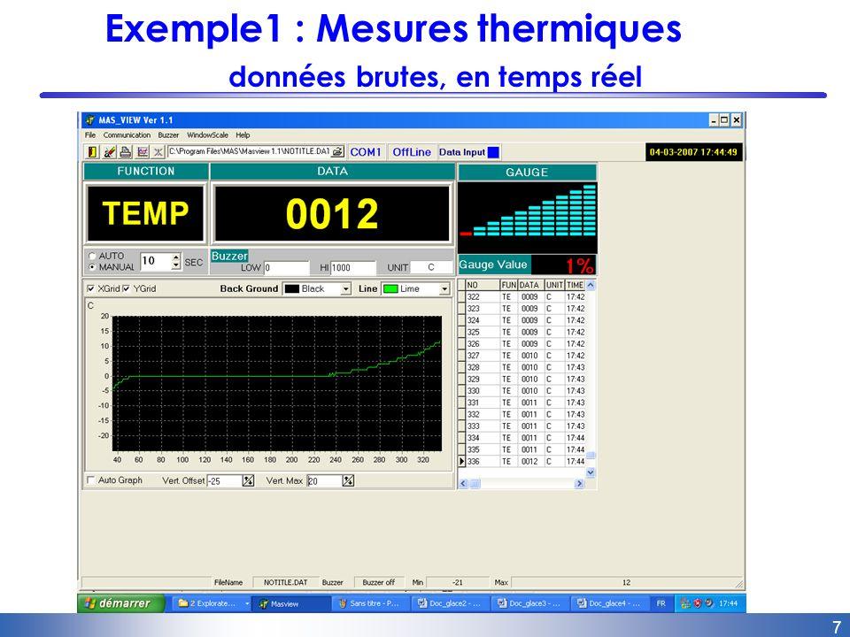 8 Exemple1 : Mesures thermiques représentation graphique dans Excel