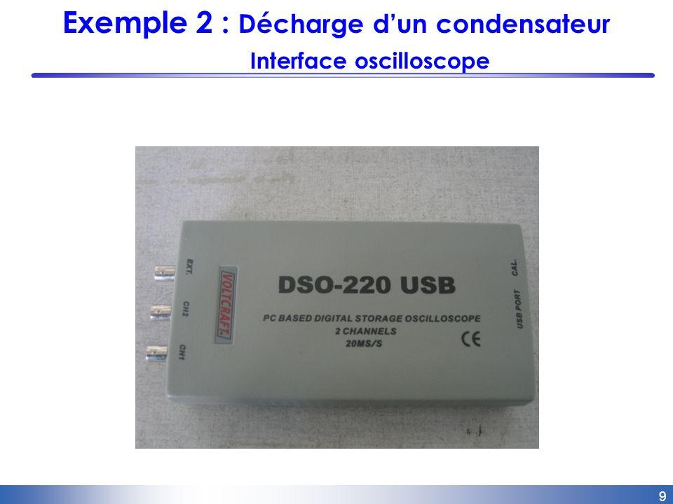 10 Exemple 2 : Décharge dun condensateur écran virtuel doscilloscope