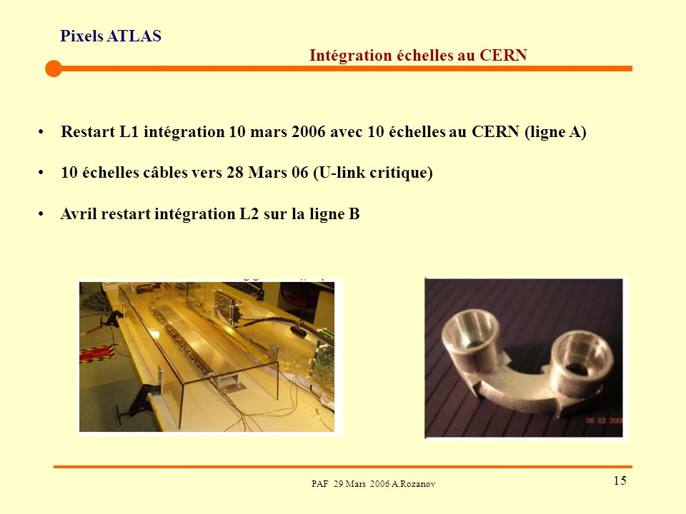 Pixels ATLAS PAF 29 Mars 2006 A.Rozanov 15 Intégration échelles au CERN Restart L1 intégration 10 mars 2006 avec 10 échelles au CERN (ligne A) 10 échelles câbles vers 28 Mars 06 (U-link critique) Avril restart intégration L2 sur la ligne B