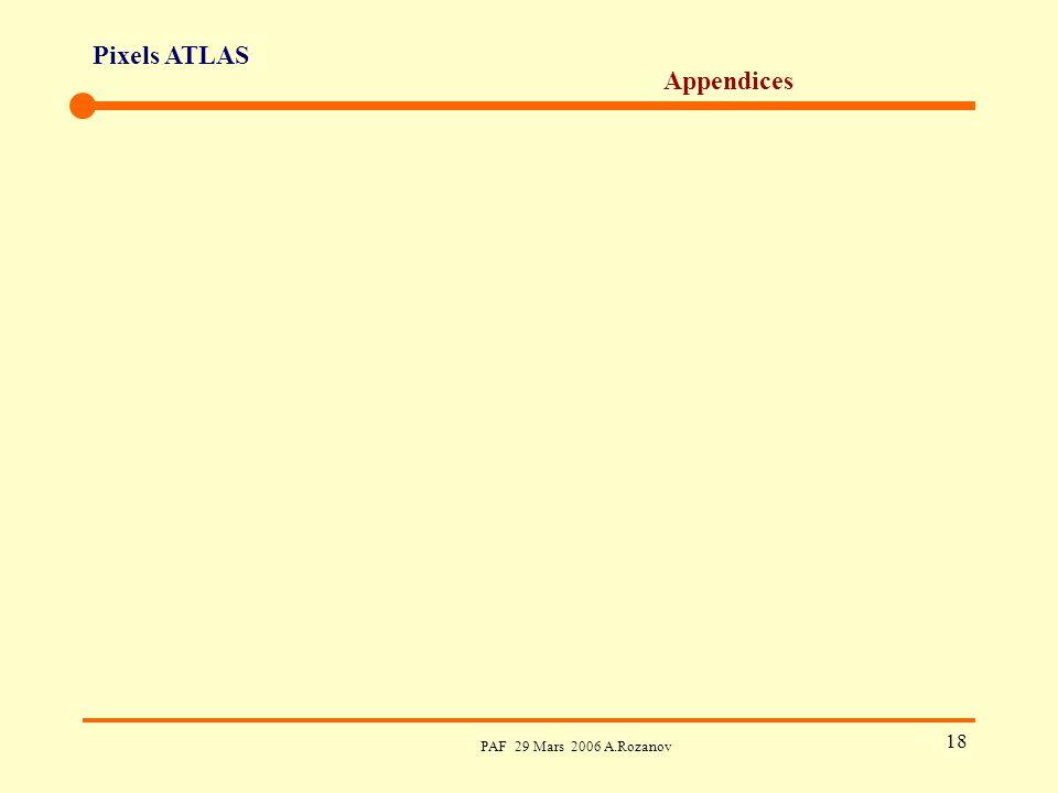 Pixels ATLAS PAF 29 Mars 2006 A.Rozanov 18 Appendices