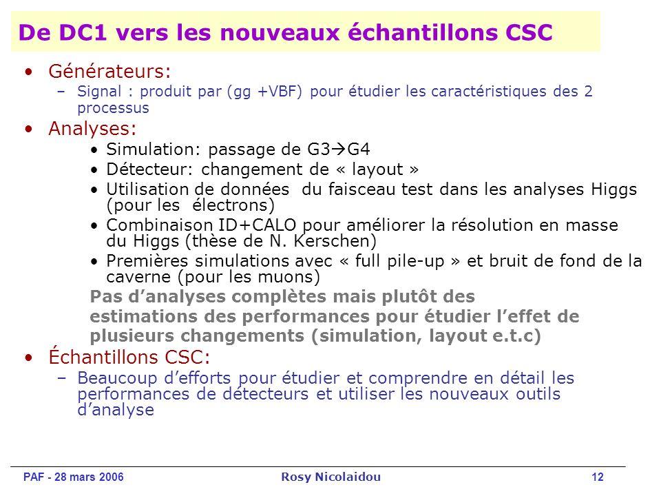 PAF - 28 mars 2006 Rosy Nicolaidou 12 De DC1 vers les nouveaux échantillons CSC Générateurs: –Signal : produit par (gg +VBF) pour étudier les caractéristiques des 2 processus Analyses: Simulation: passage de G3 G4 Détecteur: changement de « layout » Utilisation de données du faisceau test dans les analyses Higgs (pour les électrons) Combinaison ID+CALO pour améliorer la résolution en masse du Higgs (thèse de N.