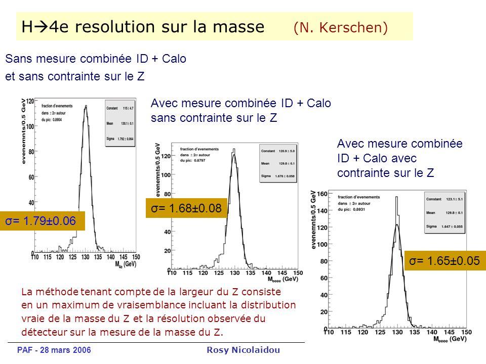PAF - 28 mars 2006 Rosy Nicolaidou 15 H 4e resolution sur la masse (N.