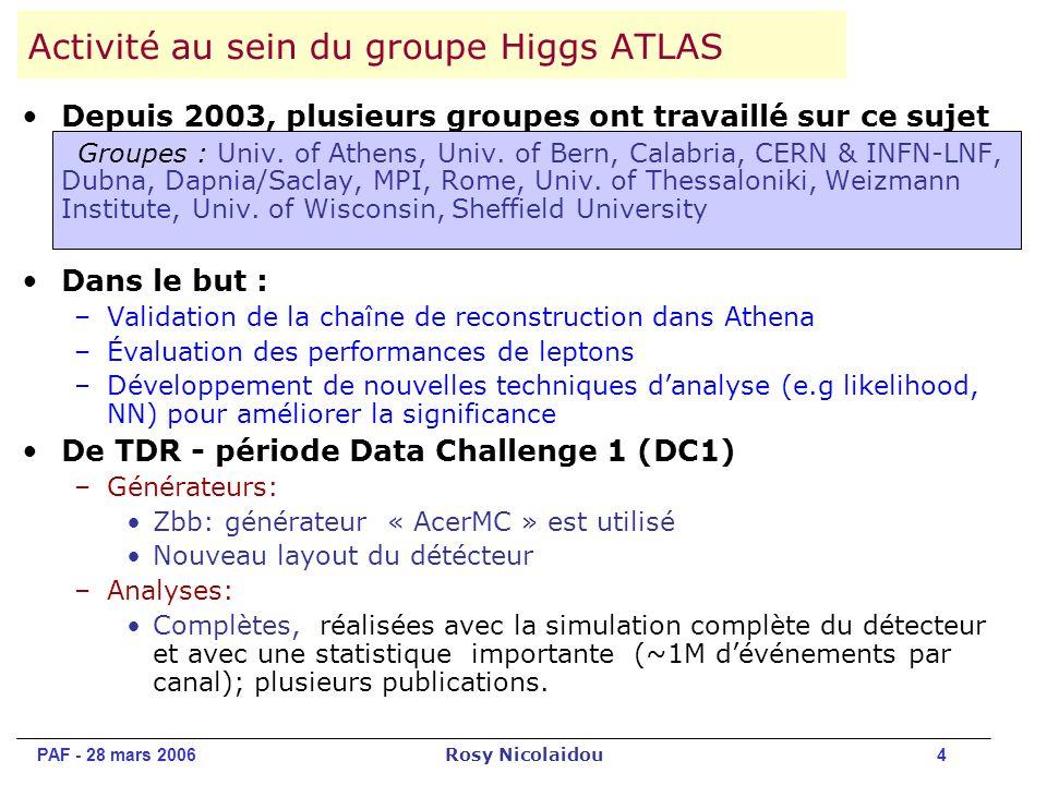 PAF - 28 mars 2006 Rosy Nicolaidou 4 Depuis 2003, plusieurs groupes ont travaillé sur ce sujet Groupes : Univ.