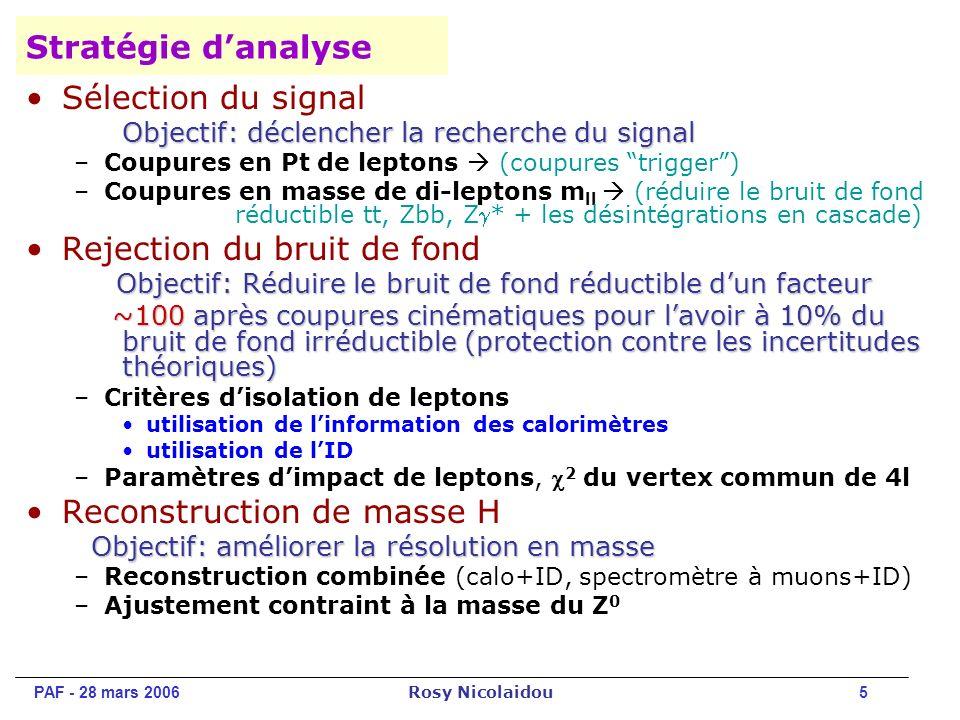 PAF - 28 mars 2006 Rosy Nicolaidou 5 Stratégie danalyse Sélection du signal Objectif: déclencher la recherche du signal –Coupures en Pt de leptons (coupures trigger) –Coupures en masse de di-leptons m ll (réduire le bruit de fond réductible tt, Zbb, Z* + les désintégrations en cascade) Rejection du bruit de fond Objectif: Réduire le bruit de fond réductible dun facteur Objectif: Réduire le bruit de fond réductible dun facteur ~100 après coupures cinématiques pour lavoir à 10% du bruit de fond irréductible (protection contre les incertitudes théoriques) ~100 après coupures cinématiques pour lavoir à 10% du bruit de fond irréductible (protection contre les incertitudes théoriques) –Critères disolation de leptons utilisation de linformation des calorimètres utilisation de lID –Paramètres dimpact de leptons, 2 du vertex commun de 4l Reconstruction de masse H Objectif: améliorer la résolution en masse –Reconstruction combinée (calo+ID, spectromètre à muons+ID) –Ajustement contraint à la masse du Z 0