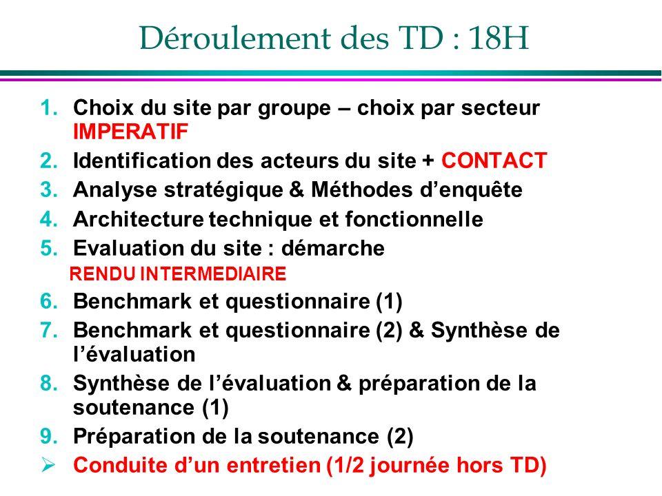 Déroulement des TD : 18H 1.Choix du site par groupe – choix par secteur IMPERATIF 2.Identification des acteurs du site + CONTACT 3.Analyse stratégique & Méthodes denquête 4.Architecture technique et fonctionnelle 5.Evaluation du site : démarche RENDU INTERMEDIAIRE 6.Benchmark et questionnaire (1) 7.Benchmark et questionnaire (2) & Synthèse de lévaluation 8.Synthèse de lévaluation & préparation de la soutenance (1) 9.Préparation de la soutenance (2) Conduite dun entretien (1/2 journée hors TD)