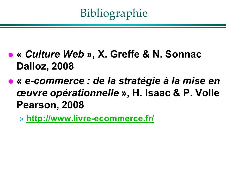 Bibliographie l « Culture Web », X. Greffe & N. Sonnac Dalloz, 2008 l « e-commerce : de la stratégie à la mise en œuvre opérationnelle », H. Isaac & P