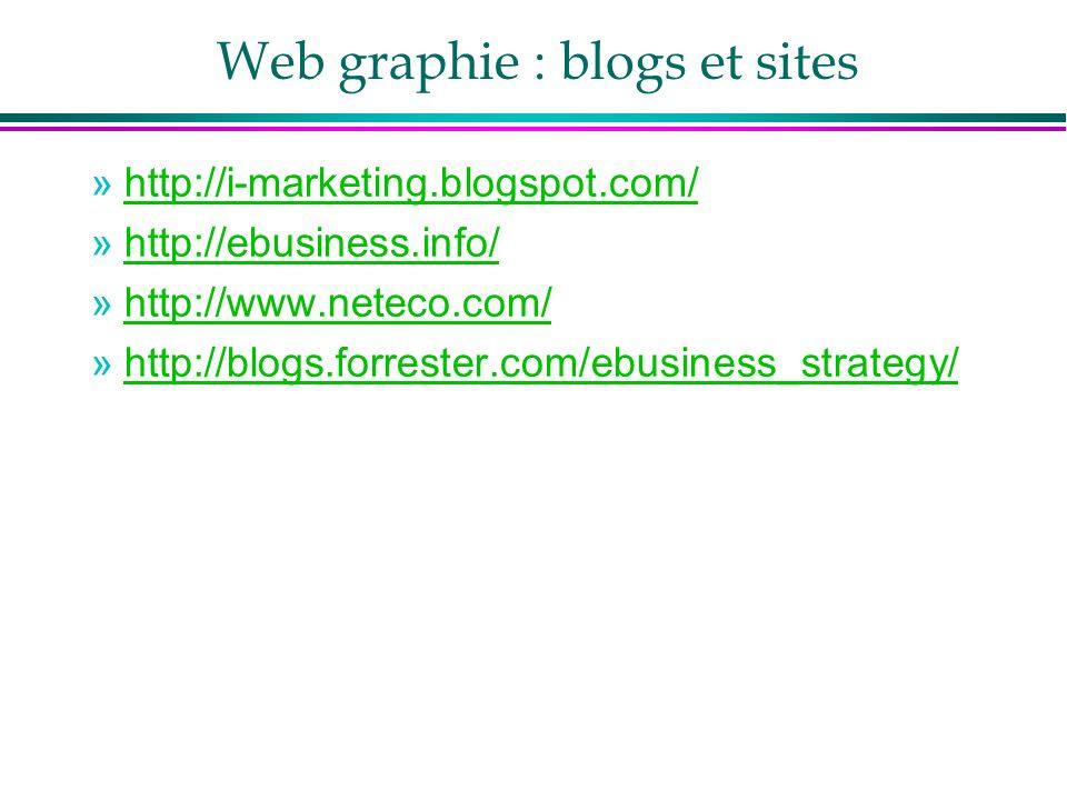 Web graphie : blogs et sites »http://i-marketing.blogspot.com/http://i-marketing.blogspot.com/ »http://ebusiness.info/http://ebusiness.info/ »http://www.neteco.com/http://www.neteco.com/ »http://blogs.forrester.com/ebusiness_strategy/http://blogs.forrester.com/ebusiness_strategy/