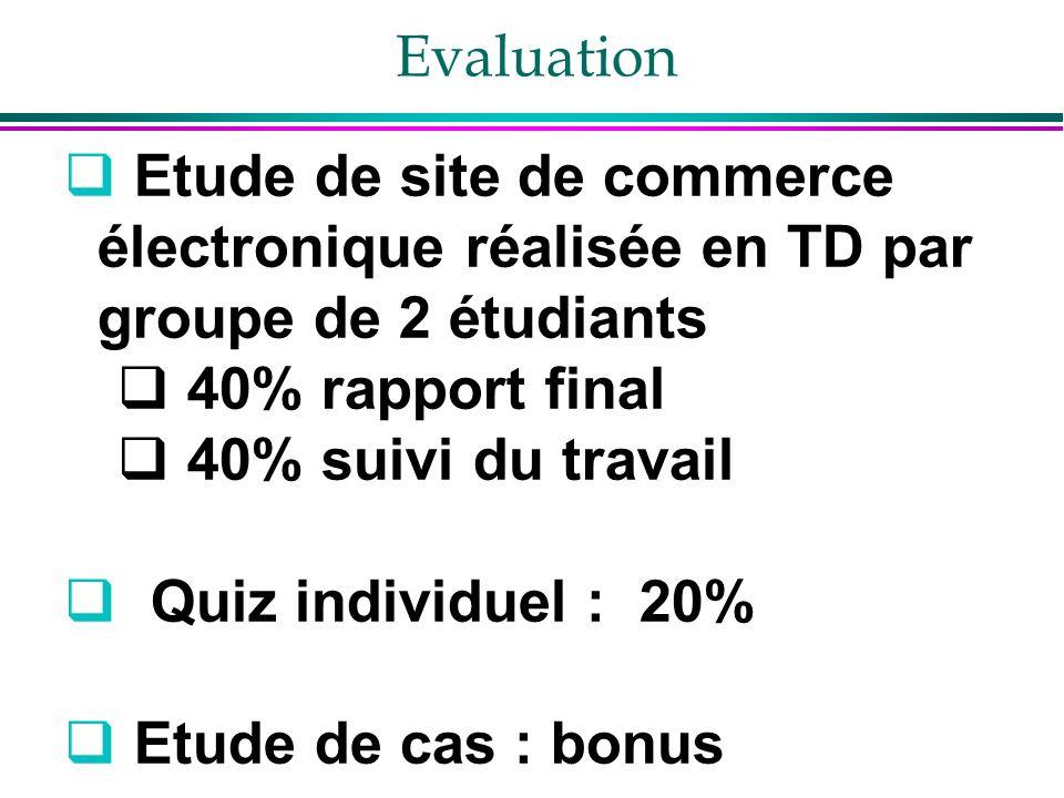 Evaluation Etude de site de commerce électronique réalisée en TD par groupe de 2 étudiants 40% rapport final 40% suivi du travail Quiz individuel : 20% Etude de cas : bonus