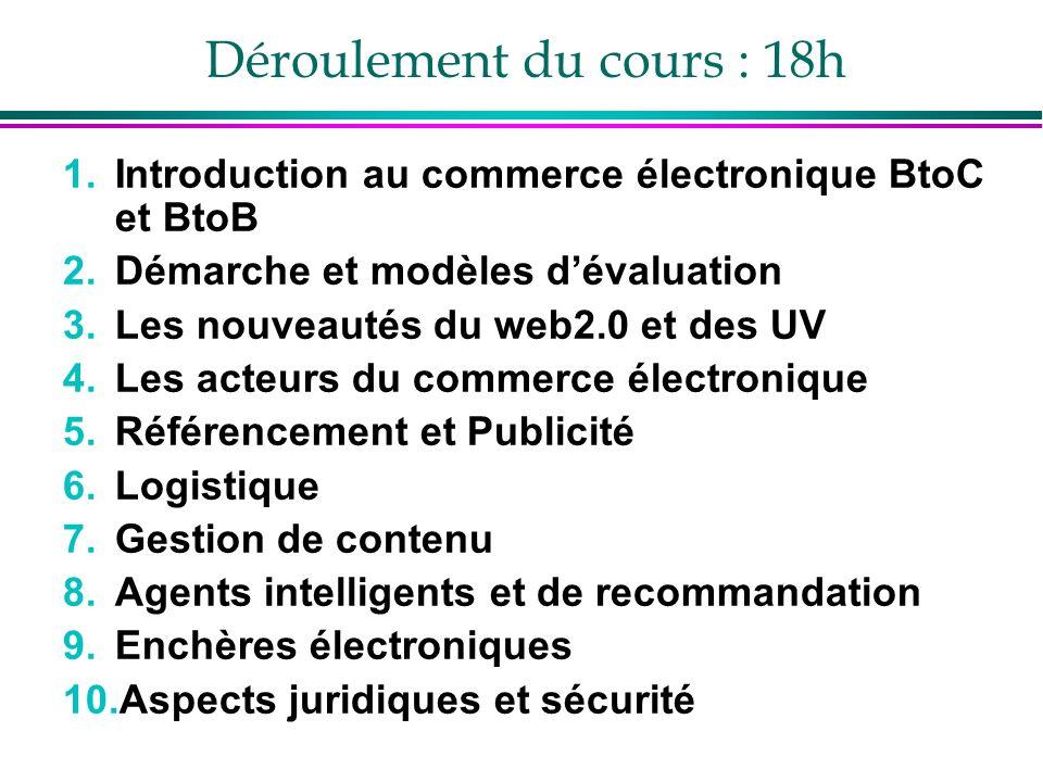 Déroulement du cours : 18h 1.Introduction au commerce électronique BtoC et BtoB 2.Démarche et modèles dévaluation 3.Les nouveautés du web2.0 et des UV