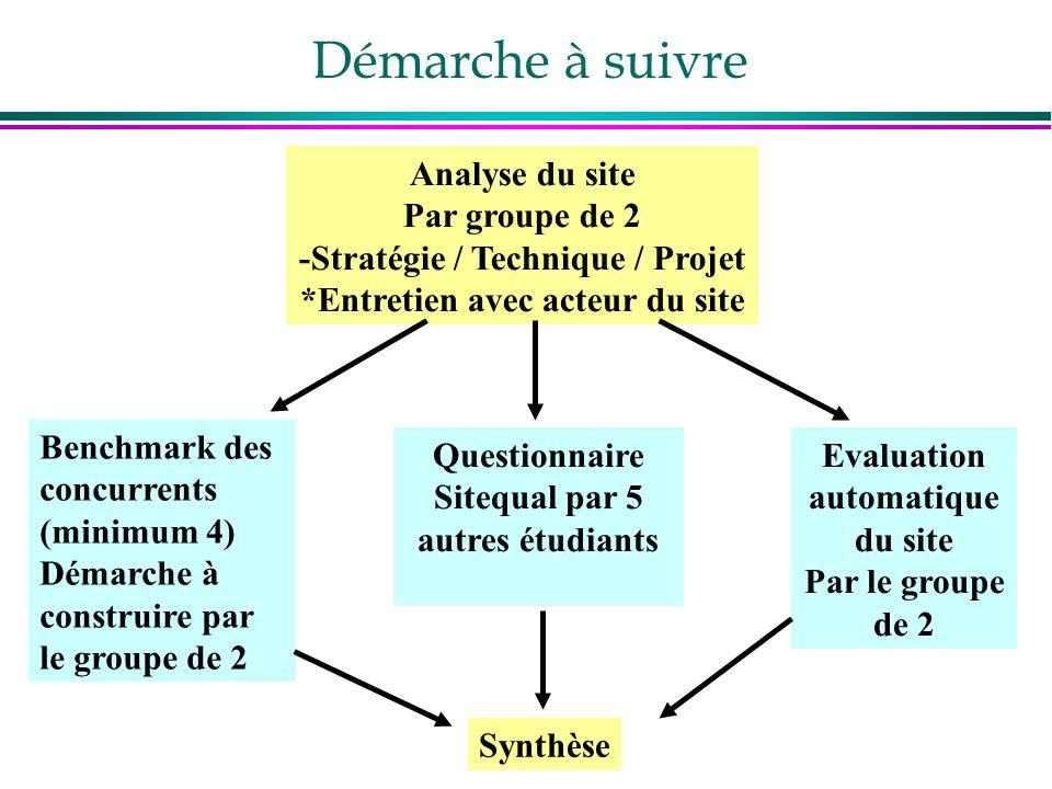 Démarche à suivre Analyse du site Par groupe de 2 -Stratégie / Technique / Projet *Entretien avec acteur du site Benchmark des concurrents (minimum 4)
